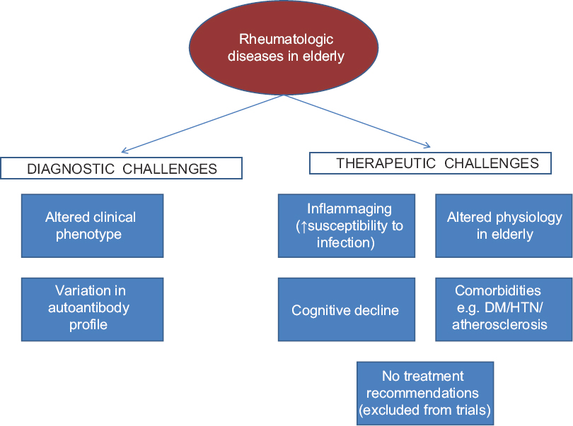 Figure 1: Challenges in management of inflammatory rheumatic diseases in the elderly