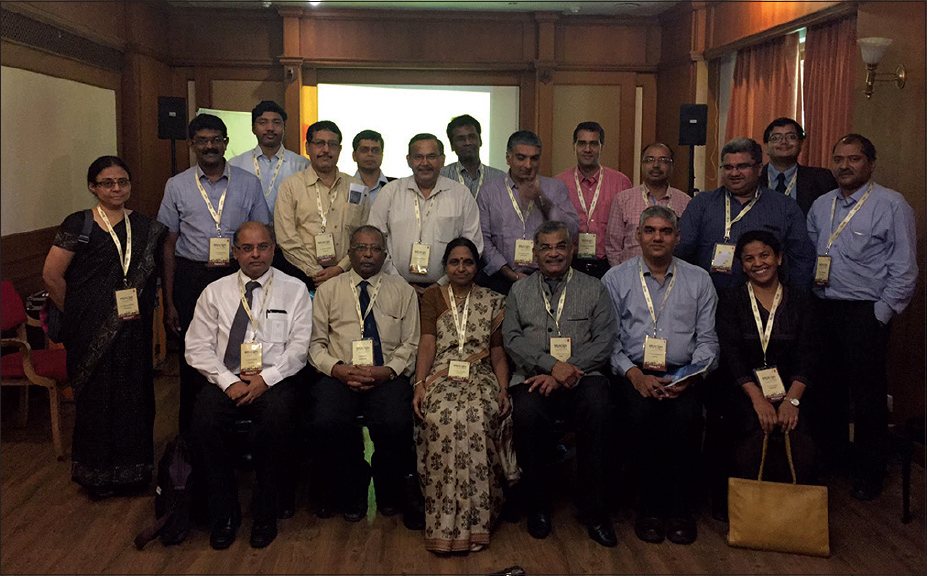 Figure 1: Photograph taken during the annual editorial board meeting of the <i>Indian Journal of Rheumatology</i> at the annual meeting of the Indian Rheumatology Association at Kochi, Kerala, India, on November 2016
